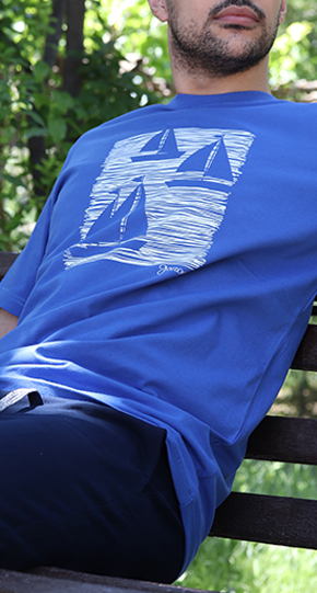 تی شرت مردانه آستین کوتاه با چاپ قایق